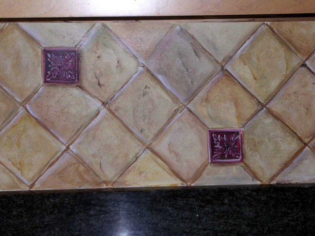 Tricia Brossart Painting - Faux limestone tile
