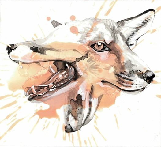 fox, foxy, watercolor, ink, contemporary art, nature, wildlife, orange, black, white, splash, ink blot, rorschach, drawing, painting