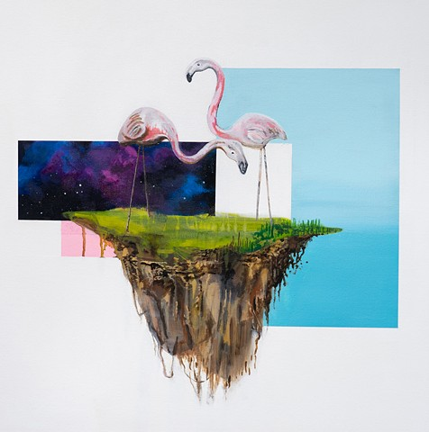 flamingo, florida, island, summer, space, universe, float, floating rock, dystopian, lonely, afraid, love, marriage, forever, contemporary art, humor, satire, painting, drawing, pink, Denver, art,