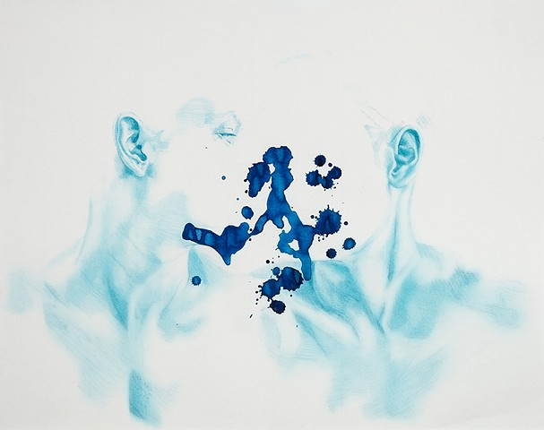 self portrait, blue, love, splash, ink, sad, depressed, beautiful, conversation, woman, androgynous, figure, figurative art, classical, fine art, hi fructose, juxtapose, beautiful bizarre, new contemporary, contemporary art, inner turmoil, angst, existent