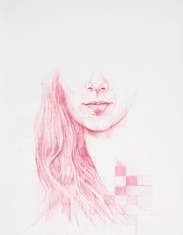red, colored pencil, drawing, beautiful, girl, women, feminist, pixelate, pixel, art, fine art, hi fructose, juxtapose, new contemporary art, contemporary, sexy, cool, geometric, artist, Colorado, unknown, dreams, memory, temporary, transience, fade, deat