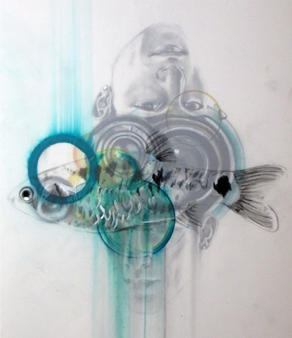 ocean, portrait, blue, fish, dream, upside down, double, camera lens, trippy, surreal, surrealism, drawing, graphite, colored pencil, boy, man, mylar, turquoise, green, fish, pisces, cosmos, otherworldly