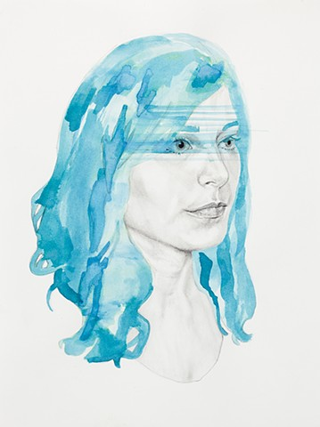 beautiful, girl, woman, blue, gorgeous, blue hair, hair, ink, graphite, contemporary art, new contemporary, portrait, drawing, realism, veil, splash, Rorschach's, ink blot, sad, moody, collage, watercolor, fine art, small work, miniature,
