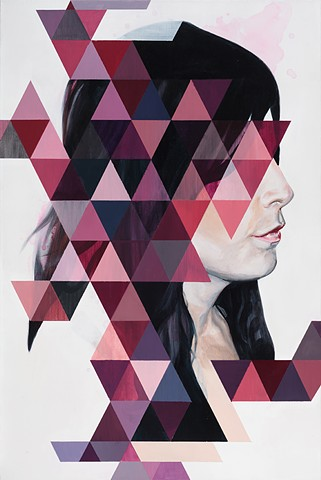 beautiful, woman, gorgeous, black hair, triangle, magenta, red, purple, fragment, splash, white background, new contemporary art, surrealism, realism, portrait, lips, nose, collar bone, jigsaw, contemporary, painting, acrylic, canvas, denver, colorado, de
