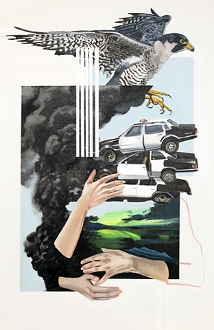 LA Art Show, Sally Centigrade, Littletopia, Kunst, Painting, Falcon, Peregrine Falcon, Smoke, New Contemporary Art, Police, Cars, Abandon, Abandonment, Landscape, Blue, Northern Lights, Disaster, Disillusionment, Bird, Flying, Hands, Holding, Comfort, Cra