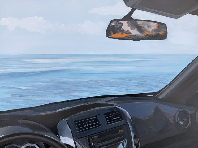 rear-view, 2020, hindsight 2020, ocean, fire, forest fire, wildfire, disaster, collage, California, Highway 1, Pacific Coast Highway, painting, plein air painting, car, drive, speed, highway, cliff, ocean view, escape, smoke