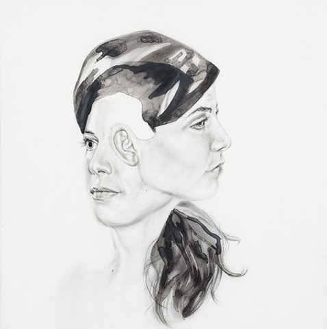 surreal, portrait, beautiful, girl, woman, women, two headed, third eye, spin, head, hair, ink, graphite, mylar, new contemporary art, contemporary surrealism, contemporary drawing, denver, colorado