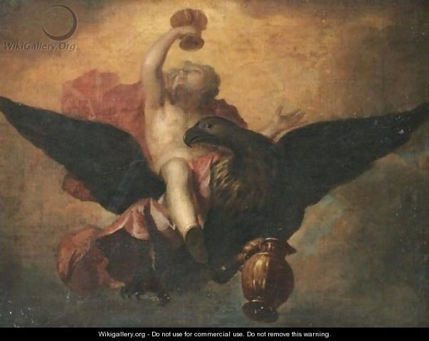 """Anton Raphael Mengs (after) (1728-1779) Ganymede, Oil on Canvas, 23.6"""" x 31.5"""""""