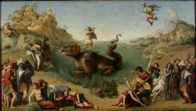 "Piero di Cosimo (1462-1522) Perseus Freeing Andromeda, Oil on Canvas, 1510 or 1513, 28""x48"" (Uffizi, Florence)"