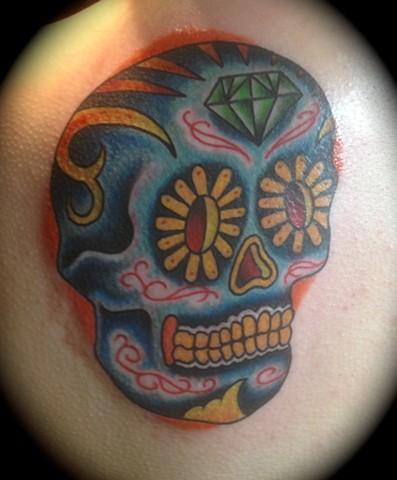 Providence, Prov, RI, Rhode Island, New England, Mass, Art Freek Tattoo, Good Tattoos grey work black and gray Color old school portrait clean sugar skull