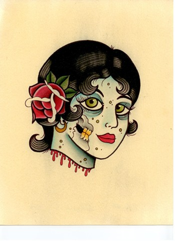 Zombie pin up girl head severed rose blood flash  watercolor tattoo Providence Rhode Island RI prov