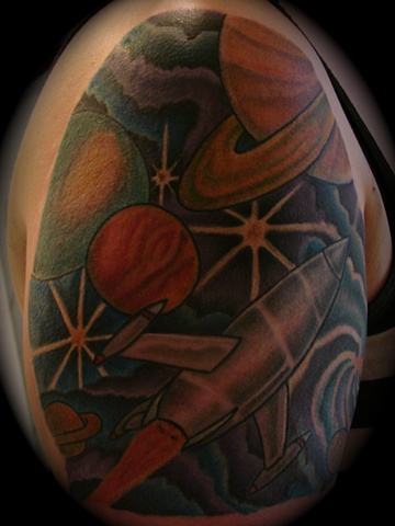 space scene space ship outer planets astronomy sci fi tattoo Providence Rhode Island RI