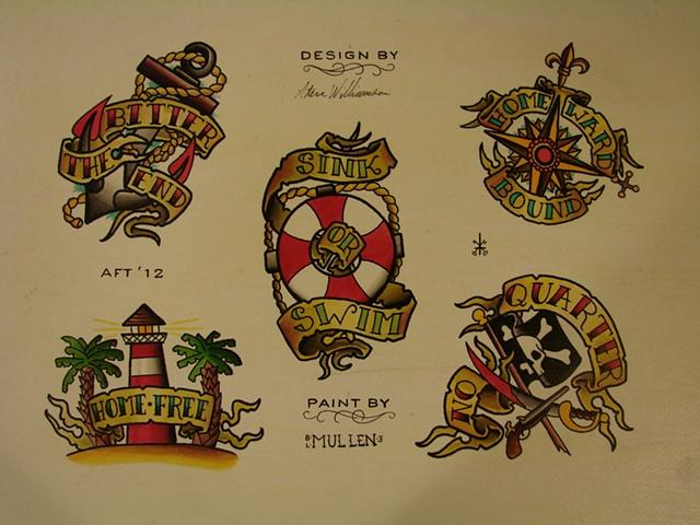 nautical Flash sheet water color watercolor Providence Rhode Island RI anchor lighthouse
