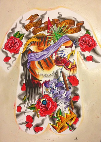 prov Rhode Island RI Providence Tattoo Art Freek Water color painting New England Tiger back piece all seeing eye roses crown