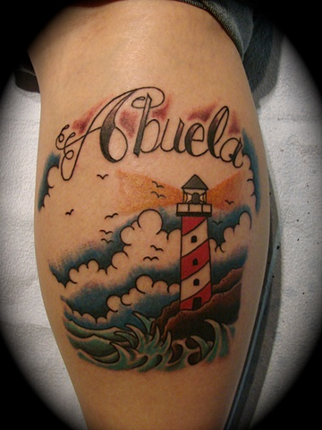 lighthouse light house tattoo abuela memorial color sea scape scene Providence Rhode Island RI