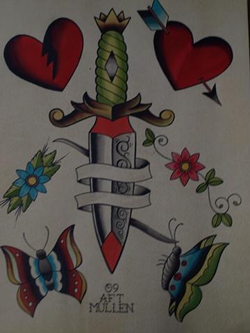 Providence Rhode Island RI Tattoo flash painting water color dagger heart butterflies butterfly