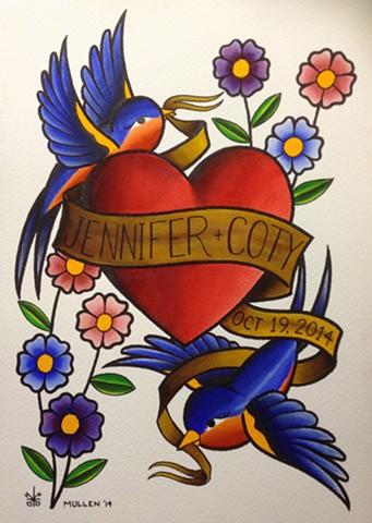 prov Rhode Island RI Providence Tattoo Art Freek Water color painting New England wedding tattoo painting birds heart flowers