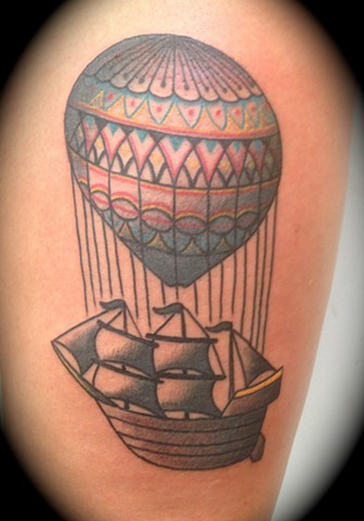Providence, Prov, RI, Rhode Island, New England, Mass, Art Freek Tattoo, Good Tattoos hot air ballon boat ship steam punk old school