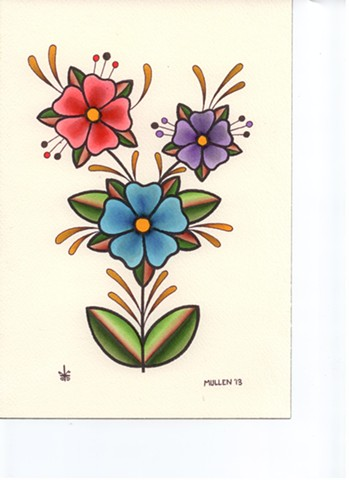 prov Rhode Island RI Providence Tattoo Art Freek Water color painting New England Flowers