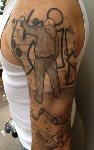 Providence, Prov, RI, Rhode Island, New England, Mass, Art Freek Tattoo, Good Tattoos grey work black and gray Color old school portrait clean hip hop mc dj rap grafitti