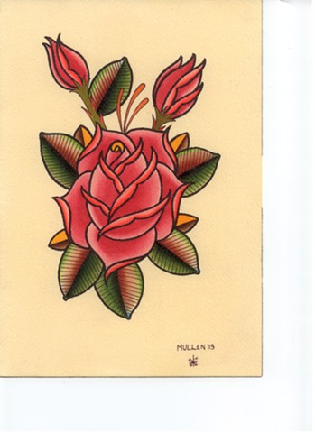 rose rosebuds flower botanical flash  watercolor tattoo Providence Rhode Island RI prov