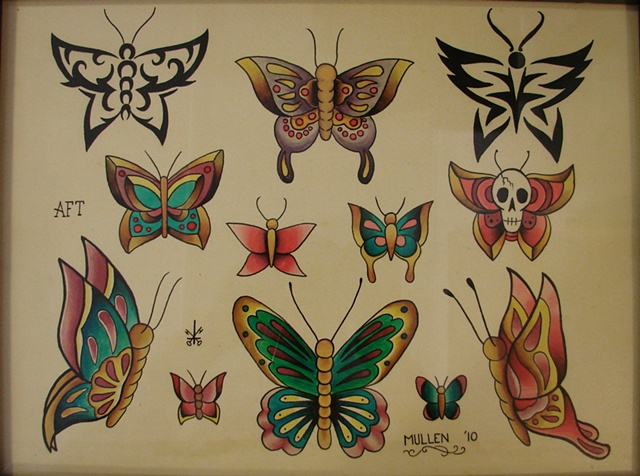 Providence Rhode Island RI Tattoo flash painting water color butterfly butterflies