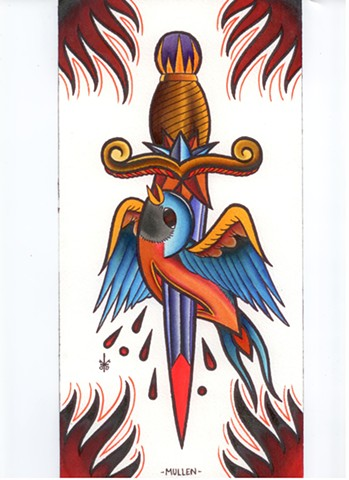 Dagger flash bird song bird watercolor tattoo Providence Rhode Island RI prov