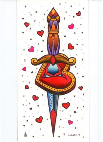 Dagger flash heart fancy watercolor tattoo Providence Rhode Island RI prov