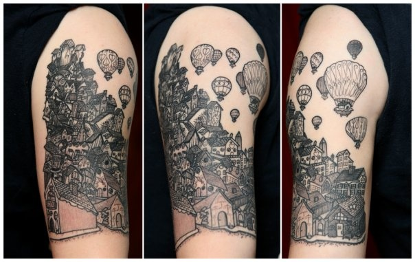 city hot air ballons line work tattoo gray work  Providence Rhode Island RI