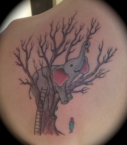 Providence, Prov, RI, Rhode Island, New England, Mass, Art Freek Tattoo, Good Tattoos elephant in a tree tree little girl dreams