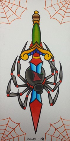 prov Rhode Island RI Providence Tattoo Art Freek Water color painting New England Dagger spider