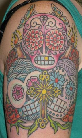 sugar skulls arm day of the dead mexico mexicano calaveras sucre steven williamson tattoo artist providence rhode island (ri) tattoo Rhode Island Providence