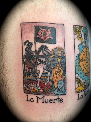 Providence, Prov, RI, Rhode Island, New England, Mass, Art Freek Tattoo, Good Tattoos grey work black and gray Color old school portrait clean tarot card death muertos muerte