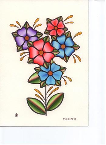 prov Rhode Island RI Providence Tattoo Art Freek Water color painting New England Flowers