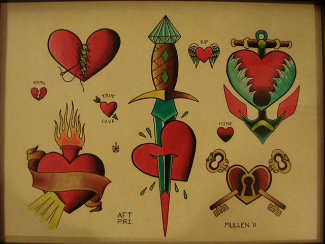 Providence Rhode Island RI Tattoo flash painting water color hearts heart
