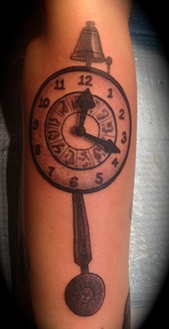 Providence, Prov, RI, Rhode Island, New England, Mass, Art Freek Tattoo, Good Tattoos grey work black and gray Color old school portrait clean twilight zone clock 5th dimension
