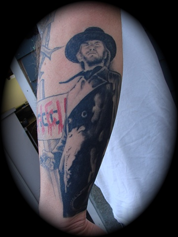 Clint Eastwood portrait style tattoo grey gray work Providence Rhode Island RI