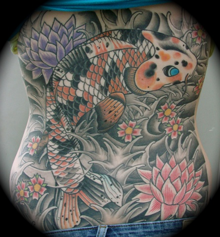 koi lotus jap style japanese koi fish backpiece back piece tattoo Providence Rhode Island RI
