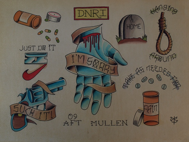 Providence Rhode Island RI Tattoo flash painting water color EHG suicide depressing