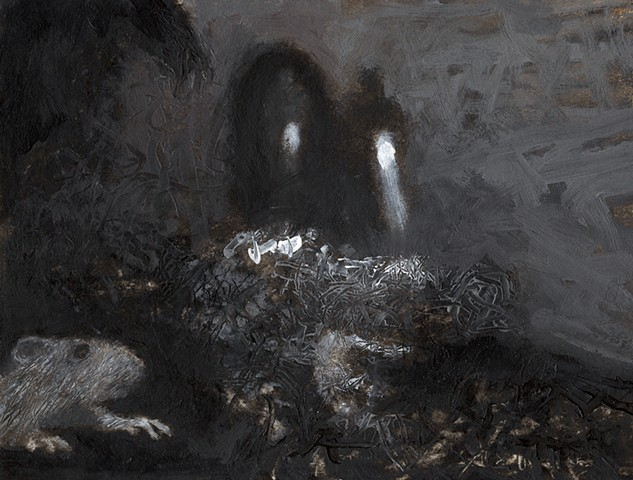 painting of rat in sewer tunnel, life underground