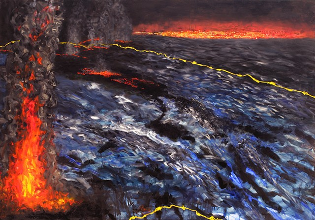 Ocean on fire, climate change, oil industry and human consumption harms oceans, Robinson Jeffers poem(The Purse Seine)