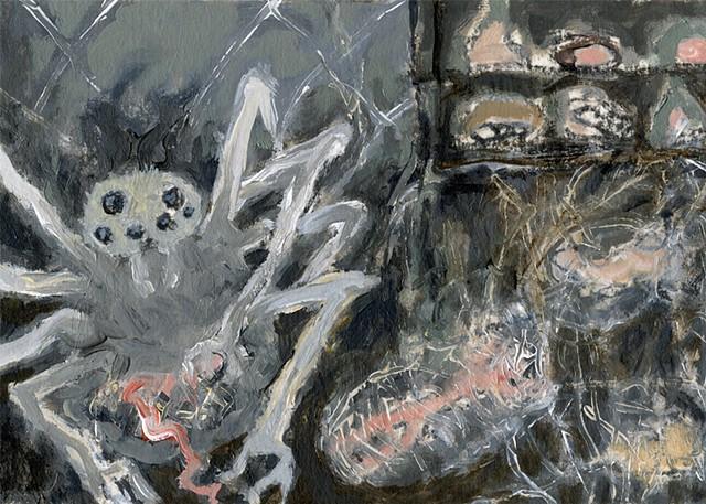 Arachne, web of life,bottom trawling, human greed, wolf spider