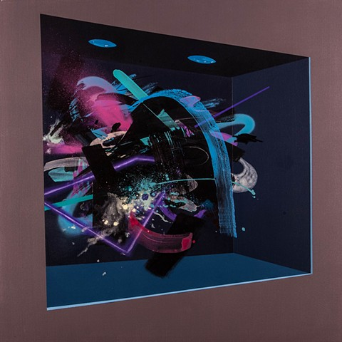 Abstract Painting in Blue/Black Display