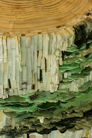 """Aspen Stump"" mosaic sculpture by Kate Jessup"