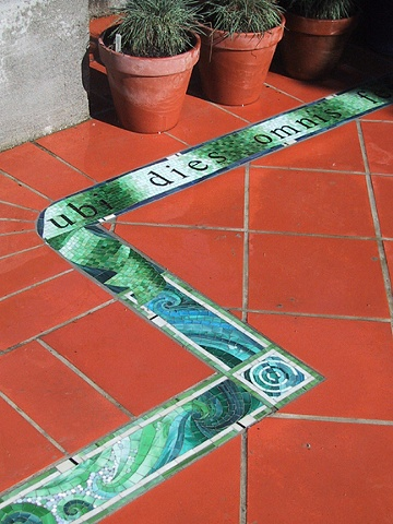 Mosaic patio installation in Picton, New Zealand by Kate Jessup