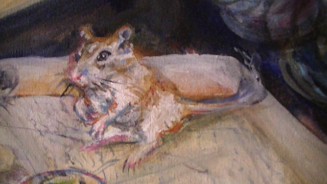 Self Portrait as Circe: Gerbil Detail
