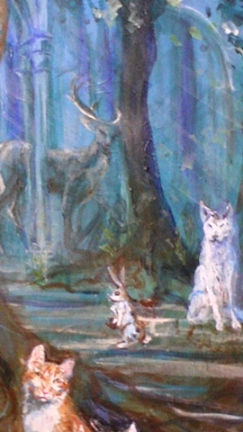 Self Portrait as Circe Background (Stag, White wolf and rabbit Detail)