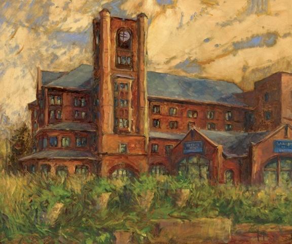Sanford Heart Hospital, Sioux Falls, SD Oil painting on Canvas, Nancyjane Huehl, Huehl Studios