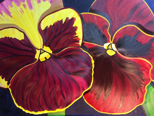 Crimson Pansies