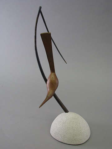 Wren from forged steel and limestone.